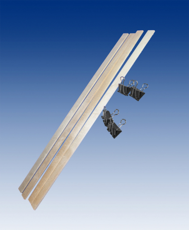 Birch strips 4 (22x4.5x500mm) with 4 clamps/ set